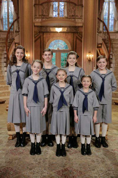 THE SOUND OF MUSIC LIVE! -- Rehearsal -- Pictured: &#40;l-r, back&#41; Ariane Rinehart as Liesl, Michael Nigro as Friedrich, Ella Watts-Gorman as Louisa, Joe West as Kurt; &#40;l-r, front&#41; Sophia Ann Caruso as Brigitta, Grace Rundhaug as Marta, Peyton Ella as Gretl appear in a photo from &#39;The Sound of Music Live!&#39; rehearsal. The show airs on Dec. 5, 2013. <span class=meta>(Paul Drinkwater&#47;NBC)</span>