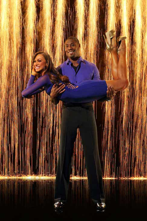 Jacoby Jones and partner Karina Smirnoff appear in an official cast photo for &#39;Dancing With The Stars: All-Stars&#39; season 16. <span class=meta>(ABC Photo&#47; Craig Sjodin)</span>