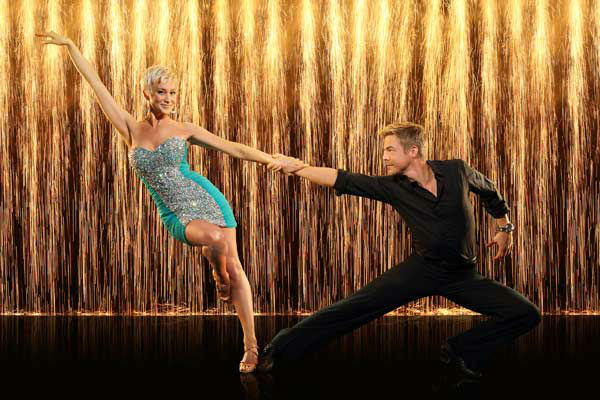 Kellie Pickler and partner Derek Hough appear in...