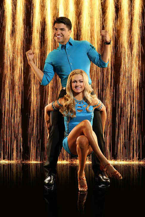 "<div class=""meta ""><span class=""caption-text "">Victor Ortiz and partner Lindsay Arnold appear in an official cast photo for 'Dancing With The Stars: All-Stars' season 16. (ABC Photo/ Craig Sjodin)</span></div>"