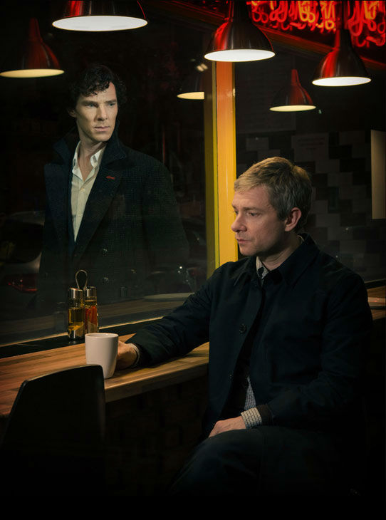 Benedict Cumberbatch and Martin Freeman appear in a promotional photo for season 3 of 'Sherlock' set to air in the U.S. on Masterpiece on PBS starting on Jan. 19, 2014.