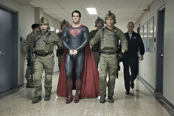Henry Cavill as Superman and Christopher Meloni &#40;far right&#41; as Colonel Nathan Hardy in Warner Bros. Pictures&#39; and Legendary Pictures&#39; action adventure &#39;Man of Steel,&#39; a Warner Bros. Pictures release. <span class=meta>(Clay Enos &#47; Warner Bros. Pictures)</span>