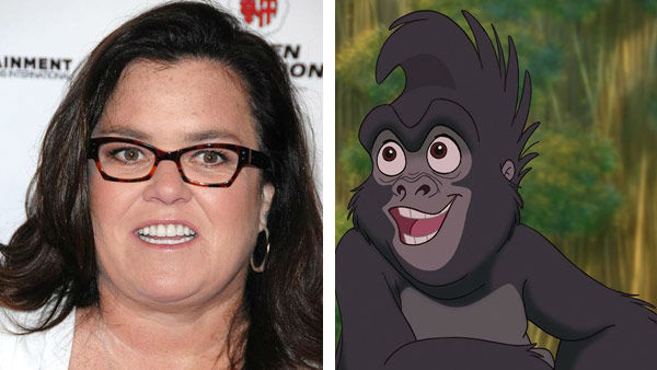 Rosie O&#39;Donnell &#40;The Rose O&#39;Donnell Show, The View&#41; lent her voice to the role of Terk in the 1999 Disney animated film &#39;Tarzan.&#39; The movie went onto win an Academy Award for Best Original Song for the Phil Collins-sung &#39;You&#39;ll Be In My Heart.&#39; &#40;Pictured: Left -- Rosie O&#39;Donnell appears at the grand opening of Mike Tyson&#39;s show &#39;Undisputed Truth&#39; in Las Vegas, Nevada on April 14, 2012. Right -- Rosie O&#39;Donnell as Terk in &#39;Taran.&#39;&#41; <span class=meta>(Dave Proctor &#47; startraksphoto.com &#47; Disney)</span>
