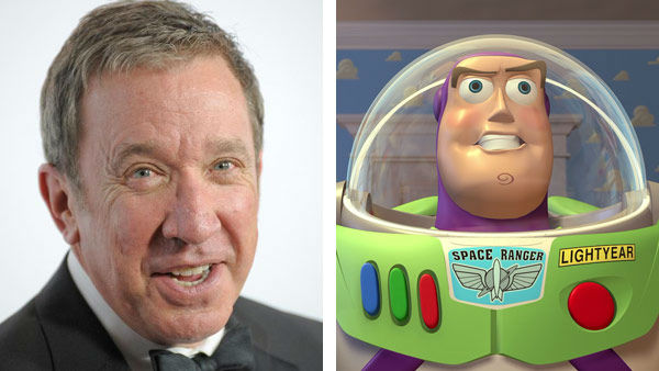 Tim Allen &#40;Home Improvement, The Santa Claus&#41; voiced the role of Buzz Lightyear in Disney and Pixar&#39;s &#39;Toy Story&#39; in its three wildly successful installments. The Buzz Lightyear characters has also been the subject of it&#39;s own spin-off movie and television series, under the name &#39;Buzz Lightyear of Star Command.&#39; &#40;Pictured: Left -- Tim Allen appears at the 2013 G&#39;Day USA Los Angeles Black Tie Gala on Jan. 12, 2013. Right -- Tim Allen as Buzz Lightyear in &#39;Toy Story.&#39;&#41; <span class=meta>(Giulio Marcocchi &#47; startraksphoto.com &#47; Disney)</span>