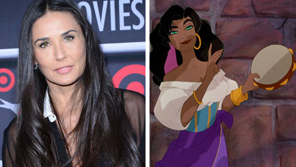 Demi Moore &#40;G.I. Jane, Indecent Proposal&#41; voiced the role of the sassy gypsy Esmeralda in the 1996 Disney film &#39;The Hunchback of Notre Dame.&#39; The animated film was nominated for an Oscar for Best Original Score. &#40;Pictured: Left -- Demi Moore appears at the 2013 AFI Night at the Movies in Los Angeles, California on April 24, 2013. Right -- Demi Moore as Esmeralda in &#39;The Hunchback of Notre Dame.&#39;&#41;  <span class=meta>(Giulio Marcocchi &#47; startraksphoto.com &#47; Disney)</span>