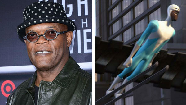 Samuel L. Jackson &#40;Pulp Fiction, Star Wars&#41; took his voice to new heights as the character Frozone in the 2004 Disney and Pixar film &#39;The Incredibles.&#39; The film went onto win an Academy Award for Best Animated Feature, beating out fellow animated blockbusters &#39;Shrek 2&#39; and &#39;Shark Tale&#39; for the award. &#40;Pictured: Left -- Samuel L. Jackson appears at the 2013 AFI Night at the Movies in Los Angeles, California on April 24, 2013. Right -- Samuel L. Jackson as Frozone in &#39;The Incredibles.&#39;&#41; <span class=meta>(Giulio Marcocchi &#47; startraksphoto.com &#47; Disney)</span>