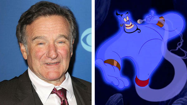 Robin Williams &#40;Mrs. Doubtfire, Good Will Hunting&#41; portrayed Genie in the 1992 Disney animated film &#39;Aladdin.&#39; The film won two Academy Awards, including Best Original Score and Best Original Song for &#39;A Whole New World.&#39; &#40;Pictured: Left -- Robin Williams appears at the CBS Upfront Presentation in New York City on May 15, 2013. Right -- Robin Williams as Genie in &#39;Aladdin.&#39;&#41;  <span class=meta>(Kristina Bumphrey &#47; startraksphoto.com &#47; Disney)</span>
