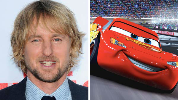 "<div class=""meta ""><span class=""caption-text "">Owen Wilson (Wedding Crashers, The Internship) voiced the role of Lightning McQueen in the 2006 Disney and Pixar animated adventure 'Cars.' Wilson reprised the role in 2011 for 'Cars 2.' in June 2012, 'Cars Land' was added as an expansion to Disney's California Adventure theme park in Anaheim, California.  (Pictured: Left -- Owen Wilson appears at the Los Angeles, California premiere of 'The Internship' on May 29, 2013. Right -- Owen Wilson as Lightning McQueen in 'Cars.') (Sara De Boer / startraksphoto.com / Disney)</span></div>"