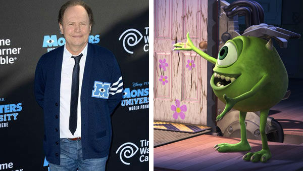 Billy Crystal &#40;When Harry Met Sally, City Slickers&#41; lent his voice to the role of Mike Wazowski in the Disney and Pixar film &#39;Monster&#39;s Inc.&#39; in 2001. Crystal reprised the role in 2013 for it&#39;s prequel, &#39;Monster&#39;s University.&#39; &#40;Pictured: Left -- Billy Crystal appears at the Los Angeles, California premiere of &#39;Monster&#39;s University&#39; on June 17, 2013. Right -- Billy Crystal as Mike Wazowski in &#39;Monster&#39;s Inc.&#39;&#41; <span class=meta>(Lionel Hahn&#47;abacausa &#47; startraksphoto.com &#47; Disney)</span>