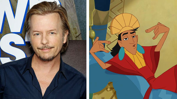 David Spade &#40;Joe Dirt, Rules of Engagement&#41; starred as Emperor Kuzco in Disney&#39;s &#39;The Emperor&#39;s New Groove&#39; in 2000. Due to the popularity of the film, the Disney Channel Original Series &#39;The Emperor&#39;s New School&#39; was launched in 2006, for which Spade did not voice the role of Kuzco.  &#40;Pictured: Left -- David Spade appears at the New York City screening of &#39;Grown Ups 2&#39; on July 10, 2013. Right -- David Spade as Kuzco in &#39;The Emperor&#39;s New Groove.&#39;&#41; <span class=meta>(Marion Curtis &#47; startraksphoto.com &#47; Disney)</span>