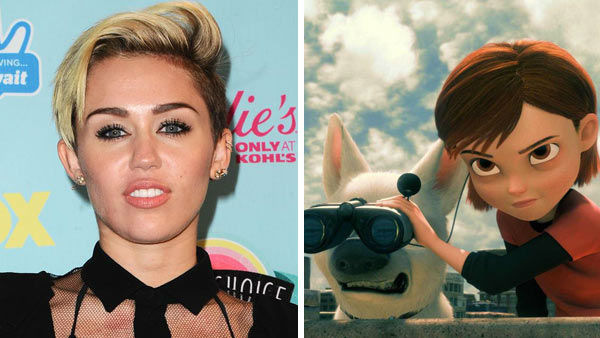 Miley Cyrus &#40;singer, Hannah Montana&#41; used her vocal abilities to portray Penny in the 2008 Disney animated film &#39;Bolt.&#39; The film was nominated for an Academy Award in the Best Animated Feature category, losing to another Disney film -- the Pixar film &#39;WALL-E.&#39; &#40;Pictured: Left -- Miley Cyrus appears at the 2013 Teen Choice Awards in Los Angeles, California on August 11, 2013. Right -- Miley Cyrus as Penny in &#39;Bolt.&#39;&#41; <span class=meta>(Kyle Rover &#47; startraksphoto.com &#47; Disney)</span>