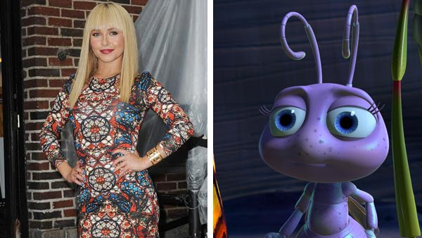 "<div class=""meta ""><span class=""caption-text "">Hayden Panettiere (Scream 4, Nashville) lent her voice to the role of Princess Dot in the Disney and Pixar venture 'A Bug's Life' in 1998. The film was Panettiere's first animated and theatrical release, which went onto gross more than $300 million worldwide. (Pictured: Left -- Hayden Panettiere appears at 'Late Night with David Letterman' in New York City on Aug. 28, 2013. Right -- Hayden Panettiere as Princess Dot in 'A Bug's Life.') (Humberto Carreno / startraksphoto.com / Disney)</span></div>"