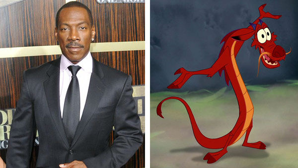 Eddie Murphy &#40;The Nutty Professor, Shrek&#41; voiced the role of Mushu in the 1998 Disney animated feature &#39;Mulan.&#39; The film was nominated for an Academy Award for Best Original Music Score. &#40;Pictured: Left -- Eddie Murphy appears at Spike TV&#39;s &#39;Eddie Murphy: One Night Only&#39;m event in Los Angeles, California on Nov. 3, 2012. Right -- Eddie Murphy as Mushu in &#39;Mulan.&#39;&#41; <span class=meta>(Tony Dimaio &#47; startraksphoto.com &#47; Disney)</span>