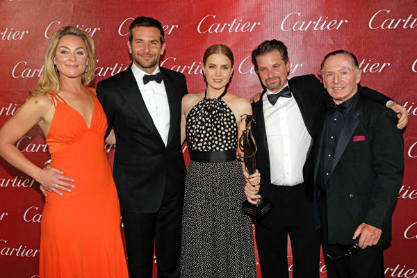 Elisabeth Rohm, Bradley Cooper, Amy Adams, Shea Whigham and Paul Herman pose with the Ensemble Performance Award backstage during the 25th annual Palm Springs International Film Festival awards gala at Palm Springs Convention Center on January 4, 2014 in Palm Springs, California.  <span class=meta>(Jeff Vespa&#47;Getty Images for PSIFF)</span>