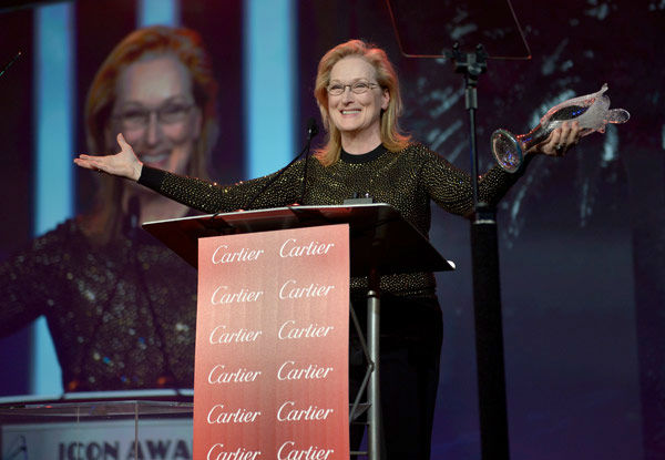 Meryl Streep accepts the Icon Award onstage during the 25th annual Palm Springs International Film Festival awards gala at Palm Springs Convention Center on January 4, 2014 in Palm Springs, California. <span class=meta>(Charley Gallay&#47;Getty Images for PSIFF)</span>