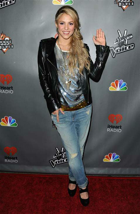 Shakira appears at 'The Voice' season 4 red carpet in Los Angeles, California on May 8, 2013.