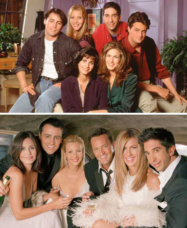 The cast of 'Friends' appear in promotional photos for seasons 1 and 10 of the NBC sitcom.