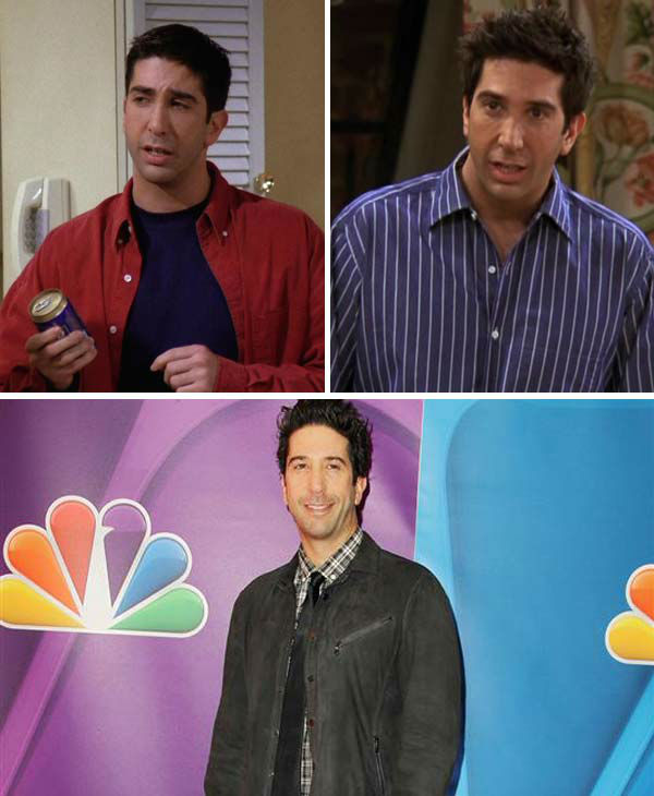 "<div class=""meta image-caption""><div class=""origin-logo origin-image ""><span></span></div><span class=""caption-text"">David Schwimmer portrayed Ross Geller on 'Friends.' Known as the geeky, dinosaur-obsessed member of the group, Geller spends much of the series dealing with his feelings for Rachel Green (Aniston). Having been married three times  -- once even to Rachel during a wild night in Las Vegas -- Geller was determined to make his relationship with Rachel work, though the two wouldn't be able to find happiness until the show's series finale.   In addition to have a daughter, Emma, with Rachel in season eight, Geller had a son named Ben from his previous marriage to Carol (played by Jane Sibbett), who leaves Geller after coming to the realization she is a lesbian. Geller tried his hand at marriage again in season four to Emily (played by Helen Baxendale), though the marriage is all but doomed after Ross utters Rachel's name at the altar instead of Emily's.   Following 'Friends,' Schwimmer went onto voice the role of Melman in the animated 'Madagascar' franchise, as well as direct the films 'Run Fatboy Run' and 'Trust.'   In 2010, Schwimmer married Zoe Buckman, a British photographer. They welcomed their first child, a daughter named Cleo, in May 2011.   (Pictured: David Schwimmer appears in stills from season 1 and 10 from the NBC series 'Friends.' David Schwimmer appears at the 2013 NBC Upfront Presentation in New York City on May 13, 2013.) (NBC / Amanda Schwab / startraksphoto.com)</span></div>"