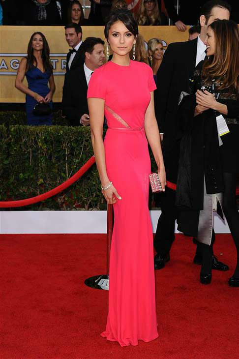 Nina Dobrev appears at the 19th annual Screen Actors Guild Awards in Los Angeles, California on Jan. 27, 2013.