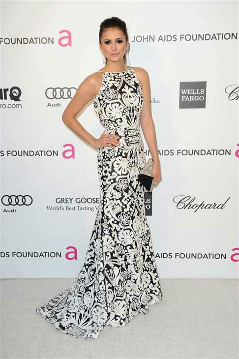 Nina Dobrev appears at the 21st annual Elton John AIDS Foundation Academy Awards Viewing Party in Los Angeles, California on Feb. 24, 2013.