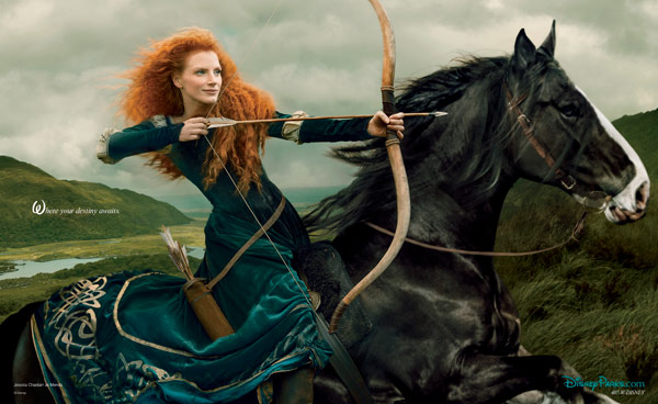 "<div class=""meta ""><span class=""caption-text "">In an image by Annie Leibovitz unveiled on Jan. 9, 2014 by Disney Parks, Jessica Chastain stars as the adventurous princess, Merida, from 'Brave.' The 'Disney Dream Portrait' was commissioned by Disney Parks for their ongoing celebrity advertising campaign.  (Disney Enterprises Inc. / Annie Leibowitz)</span></div>"