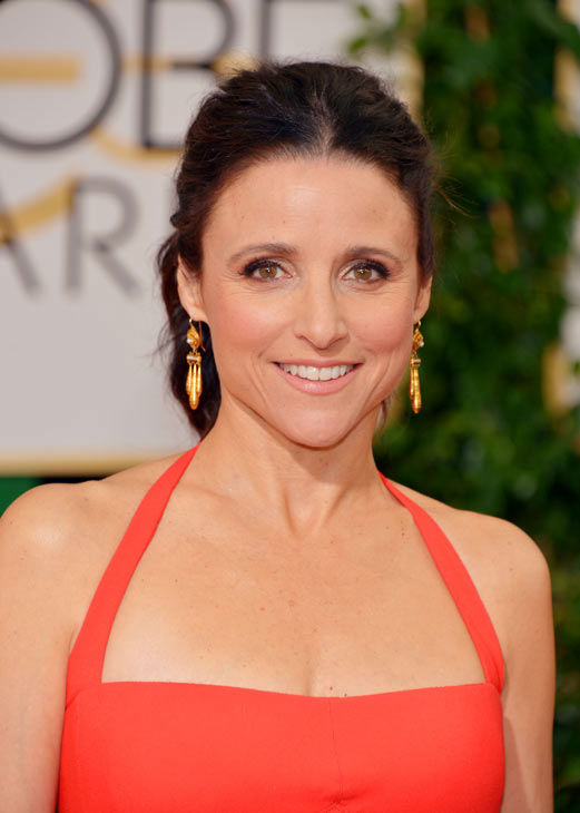 Julia Louis-Dreyfus is too big for TV.  Julia Louis-Dreyfus scored two nominations this year, one for Best Performance by an Actress In A Supporting Role in a Motion Picture for her role on the TV comedy &#39;Veep&#39; and the second for Best Performance by an Actress in a Motion Picture - Comedy Or Musical for her role in &#39;Enough Said.&#39;   Apparently, it was the second nomination that enabled Louis-Dreyfus to sit in the film section in the audience as she pretended to not see Poehler and Fey try to say hi to her. She was too busy smoking an e-cigarette, wearing giant sunglasses and ignoring Reese Witherspoon&#39;s request for a selfie to even bother with them.   Later, still playing with the joke, Louis-Dreyfus moved back to the TV side of the audience after she lost in the film category to Amy Adams of &#39;American Hustle&#39; and was seen eating a hot dog with the works.   &#40;Pictured: Julia Louis-Dreyfus appears at the Golden Globe Awards on Jan. 12, 2014.&#41; <span class=meta>(John Shearer &#47; AP Photo)</span>
