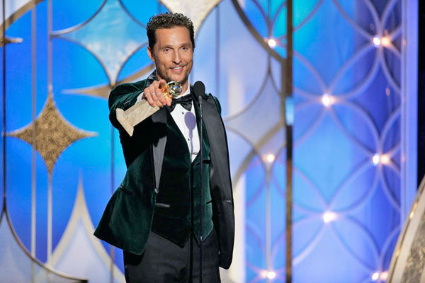 Matthew McConaughey recalls &#39;Dazed and Confused&#39; during his acceptance speech.   Matthew McConaughey, who won Best Performance by an Actor in a Motion Picture - Drama for &#39;Dallas Buyers Club,&#39; kicked off his speech with a little quote from his role in &#39;Dazed and Confused.&#39;  &#39;All right, all right, all right,&#39; McConaughey said with enthusiasm.   The actor went on to thank his wife and said, &#39;My wife, Camila, who&#39;s not only put up with me for all this time in our seven years, and this last three years ... she kicked my [expletive] out the door and said, &#39;Go get it McConaughey, go get it, my man, my king.&#39;   &#40;Pictured: Matthew McConaughey appears at the Golden Globe Awards on Jan. 12, 2014.&#41; <span class=meta>(Paul Drinkwater&#47;NBC)</span>