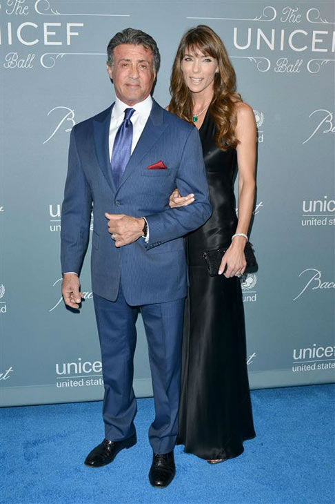 "<div class=""meta ""><span class=""caption-text "">Sylvester Stallone and Jennifer Flavin appear at the 2014 UNICEF Ball in Beverly Hills, California, on Jan. 14, 2013.  (Tony DiMaio/startraksphoto.com)</span></div>"