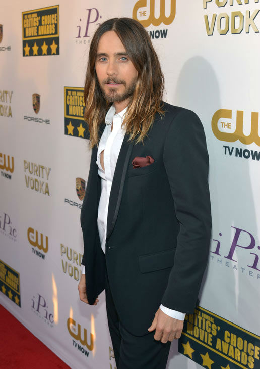 "<div class=""meta ""><span class=""caption-text "">Jared Leto arrives at the 19th annual Critics' Choice Movie Awards at the Barker Hangar on Thursday, Jan. 16, 2014, in Santa Monica, Calif.  (Jordan Strauss/Invision/AP)</span></div>"