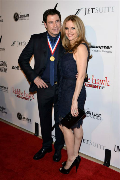 John Travolta and wife Kelly Preston appear at the 11th annual Living Legends of Aviation Awards in Beverly Hills, California on Jan. 17, 2014. The two wed in 1991 and share a son and daughter. Their eldest son, Jett, died in 2009. <span class=meta>(Tony DiMaio &#47; Startraksphoto.com)</span>