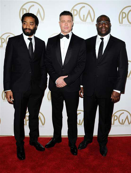 "<div class=""meta ""><span class=""caption-text "">Chiwetel Ejiofor, Brad Pitt and Steve McQueen appear at the 25th annual Producer's Guild Awards (PGAs) in Los Angeles, California on Jan. 19, 2014. (Sara De Boer / startraksphoto.com)</span></div>"