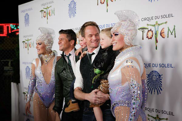 Neil Patrick Harris and David Burtka appear with their children, Gideon Scott Burtka-Harris and Harper Grace Burtka-Harris, at the opening night of TOTEM from Cirque du Soleil in Santa Monica, California on Jan. 21, 2014.  <span class=meta>(Matt Beard Photography)</span>