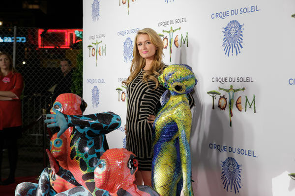 Paris Hilton appears at the opening night of TOTEM from Cirque du Soleil in Santa Monica, California on Jan. 21, 2014. <span class=meta>(Matt Beard Photography)</span>