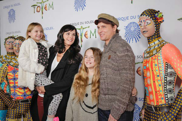 Jaimie Alexander and Peter Facinelli and his daughters appear at the opening night of TOTEM from Cirque du Soleil in Santa Monica, California on Jan. 21, 2014. <span class=meta>(Matt Beard Photography)</span>