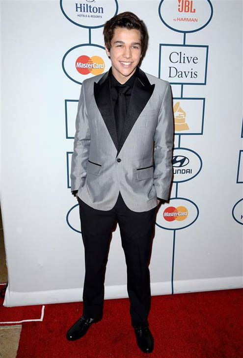 Austin Mahone appears at the 2014 Clive Davis Pre-Grammy party in Los Angeles, California on Jan. 25, 2014.