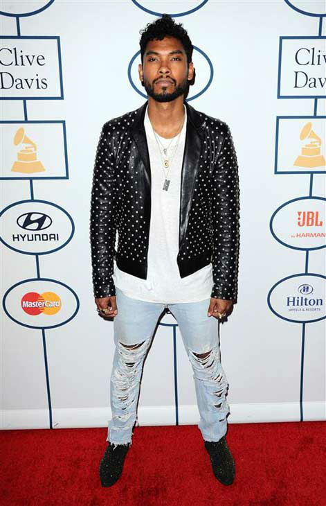 Miguel appears at the 2014 Clive Davis Pre-Grammy party in Los Angeles, California on Jan. 25, 2014.