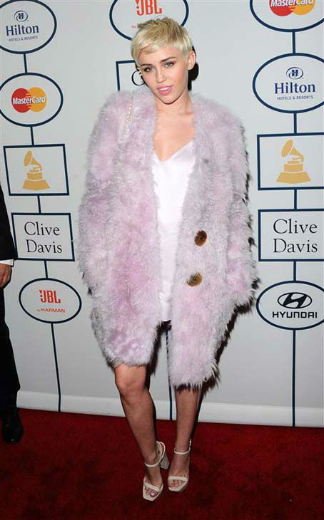 Miley Cyrus appears at the 2014 Clive Davis Pre-Grammy party in Los Angeles, California on Jan. 25, 2014.
