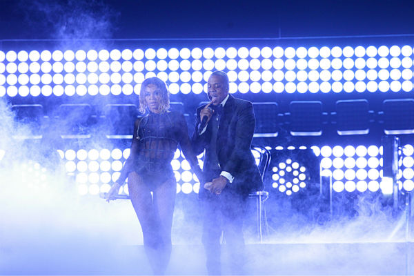 Beyonce and husband Jay-Z perform 'Drunk In Love' at the 2014 Grammy Awards in Los Angeles on Jan. 26, 2014.