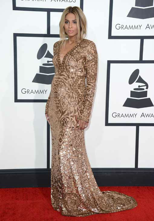 Ciara arrives at the 56th annual GRAMMY Awards at Staples Center on Sunday, Jan. 26, 2014, in Los Angeles.