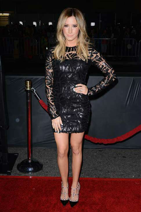 Ashley Tisdale appears at the premiere of the R-rated comedy movie 'That Akward Moment' at L.A. Live Regal Cinemas in Los Angeles on Jan. 27, 2014.