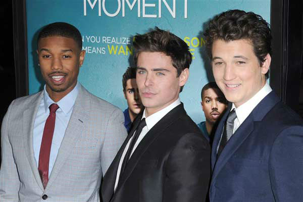 Michael B. Jordan, Zac Efron and Miles Teller appear at the premiere of the R-rated comedy movie 'That Akward Moment' at L.A. Live Regal Cinemas in Los Angeles on Jan. 27, 2014.