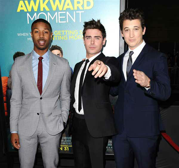 "<div class=""meta image-caption""><div class=""origin-logo origin-image ""><span></span></div><span class=""caption-text"">Michael B. Jordan, Zac Efron and Miles Teller appear at the premiere of the R-rated comedy movie 'That Akward Moment' at L.A. Live Regal Cinemas in Los Angeles on Jan. 27, 2014. (Sara De Boer / Startraksphoto.com)</span></div>"