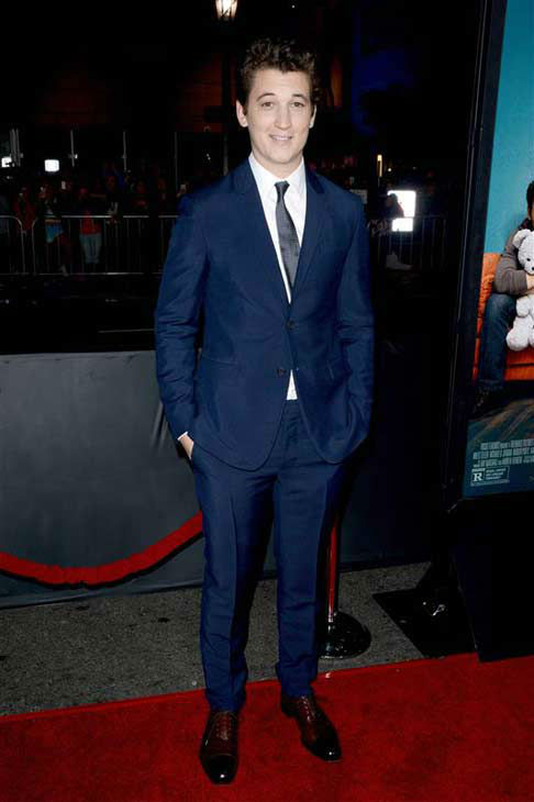 Miles Teller appears at the premiere of the R-rated comedy movie 'That Akward Moment' at L.A. Live Regal Cinemas in Los Angeles on Jan. 27, 2014.