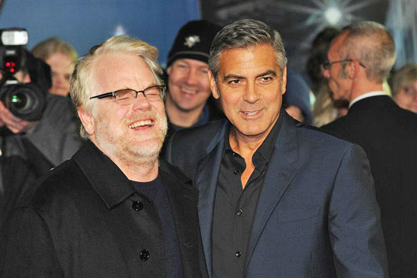 Philip Seymour Hoffman and George Clooney appear together in an undated photo in London, England. <span class=meta>(Aurore Marechal&#47;Abaca&#47;startraksphoto.com)</span>