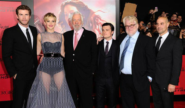 "<div class=""meta image-caption""><div class=""origin-logo origin-image ""><span></span></div><span class=""caption-text"">Liam Hemsworth, Jennifer Lawrence, Donald Sutherland, Josh Hutcherson, Philip Seymour Hoffman and Stanley Tucci appear at the Los Angeles premiere of 'The Hunger Games: Catching Fire' on Nov. 18, 2013. (Sara De Boer/startraksphoto.com)</span></div>"