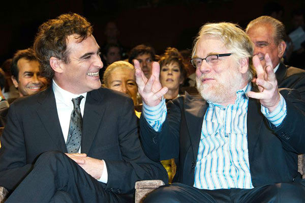 Philip Seymour Hoffman and Joaquin Phoenix appear at the premiere of &#39;The Master&#39; on Sept. 1, 2012. <span class=meta>(Nicolas Genin&#47;ABACA&#47;Startraksphoto.com)</span>