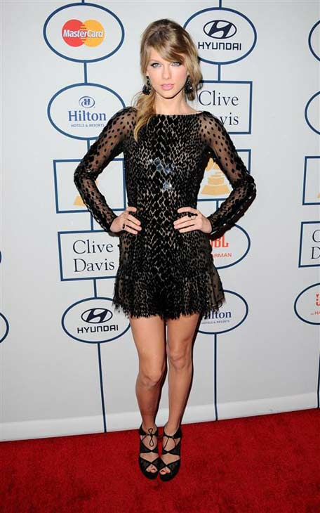 Taylor Swift appears at the Clive Davis pre-Grammy party in Los Angeles, California on Jan. 25, 2014.
