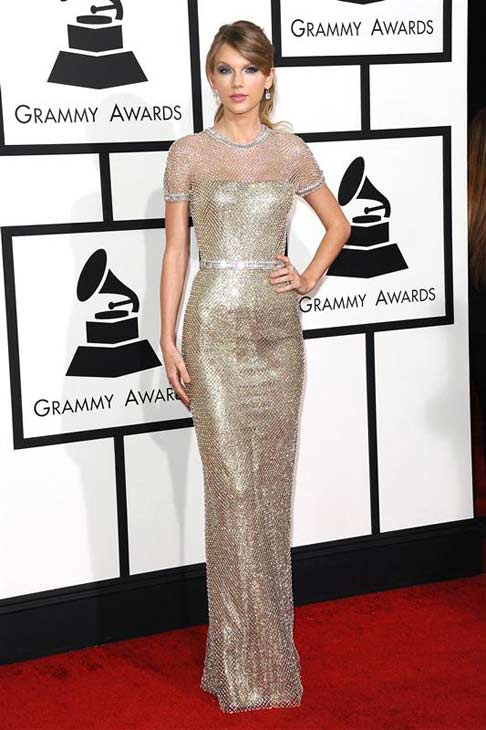 "<div class=""meta ""><span class=""caption-text "">Taylor Swift appears at the 56th annual Grammy Awards in Los Angeles, California on Jan. 26, 2014.  (Kyle Rover / startraksphoto.com)</span></div>"