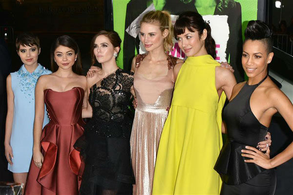 Sami Gayle, Sarah Hyland, Zoey Deutch, Lucy Fry, Olga Kurylenko, and Dominique Tipper appear at the Los Angeles premiere of &#39;Vampire Academy&#39; on Feb. 4, 2014.   <span class=meta>(Tony DiMaio&#47;startraksphoto.com)</span>