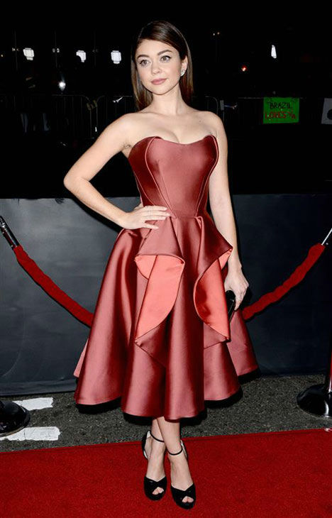 Sarah Hyland appears at the Los Angeles premiere of 'Vampire Academy' on Feb. 4, 2014.